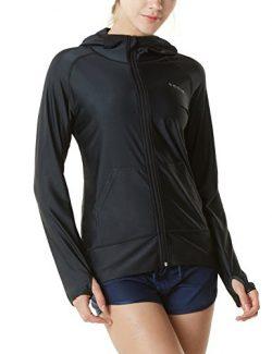 Tesla Women's UPF 50+ Hoodie Zip Front Long Sleeve Top Rashguard Swimsuit FSZ02