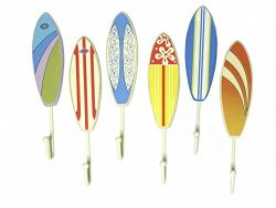 Surfers Wall Towel Bathing Suit Hooks – Set of 6 – Novelty Hangers for Coats, Aprons ...