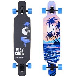 Playshion Freeride Freestyle Drop Through Longboard Skateboard Complete 39 Inch