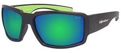 Bomber Eyewear BG103GMGF Non-Polarized Boogie Bomb Safety Glasses Matte Black Frame Green Mirror ...