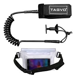 Tagvo Body Board Leash 4 Feet 7mm Coiled with Waterproof Waist Pouch, Comfortable Padded Neopren ...