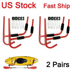 LEAGUE&CO For 2 Kayak Steel Ladder Wall Mount Storage Rack Surfboard Canoe Folding Hanger