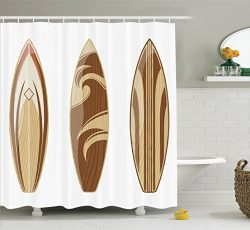 Ambesonne Surfboard Decor Collection, Wooden Surfboards Adventurous Wood Color Natural Classic D ...