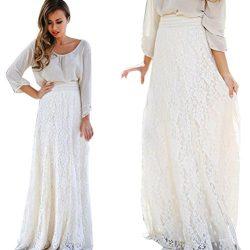 NEW HOT!Long Maxi Skirt ,BeautyVan Fashion Design Women Lace Double Layer Pleated Long Maxi Ski ...