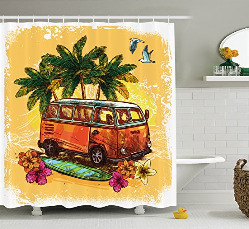 Surf Shower Curtain by Ambesonne, Hippie Classic Old Bus with Surfboard Freedom Holiday Exotic L ...