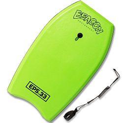 BEACON BODYBOARDS 33 Inch Bodyboard with Wrist Leash, EPS Core, and Slick Bottom – Green B ...