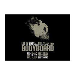 Teeburon Life is simple eat, sleep and Bodyboard Pack of 4 Stickers