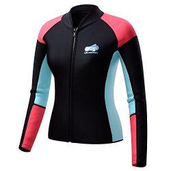 Lemorecn Women's 1.5mm Wetsuits Jacket Long Sleeve Neoprene Wetsuits Top (2047black8)