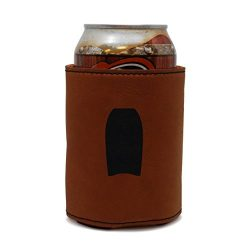 MODERN GOODS SHOP Leather Beer Coozie With Bodyboard Engraving – Oil, Stain And Water Resi ...