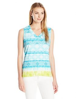 Caribbean Joe Women's Cotton Spandex Sleeveless V Neck Border Print Tank Top, Skim Board A ...