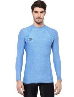 O'Neill Men's Basic Skins Long Sleeve Rashguard, Brite Blue Hybrid, Large