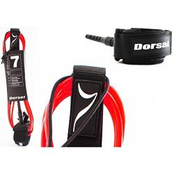 Dorsal Premium Surfboard 6, 7, 8, 9, 10 FT Surf Leash – Red 7 FT FCS Style / Red