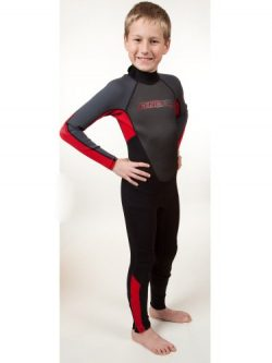 O'Neill Youth Reactor 3/2mm Back Zip Full Wetsuit, Black/Red/Graphite, 14