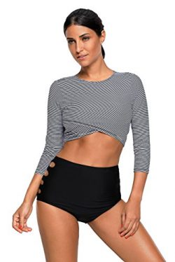 SherryDC Women's Long Sleeve Striped Crop Rash Guard Swimsuit Two Piece Bathing Suit