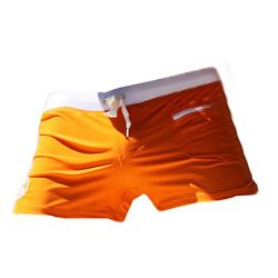 Hot Sexy Man Swimming Trunks Swimsuits Surf Board Beach Wear Pouch Boxer Shorts Orange M