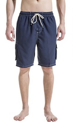 Akula Quick Dry Swim Trunks Beach Shorts with Mesh Lining Surf Board Shorts Navy Size XL