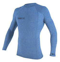 O'Neill Men's Hybrid Long Sleeve Rashguard, Brite Blue Hybrid, Small