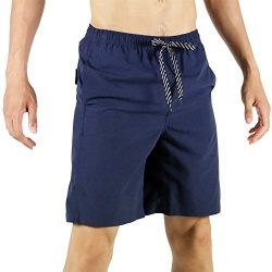 SAFS Men's Solid Color Swim Trunks 10″ Inseam Surf Board Shorts Navy 34