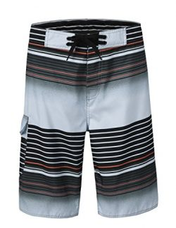 Unitop Men's Summer Holiday Stripped Quick Dry Board Shorts Gray3 36