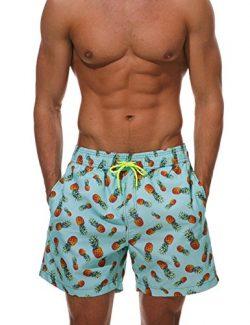 Dethler Mens Quick Dry Swimwear Swimsuits Flower Print Surf Board Boxer Shorts Trunks Long