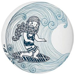 Round Rug Mat Carpet,Wave,Doodle Surfer with Long Beard on Swirled Waves Surfboard Water Sports  ...