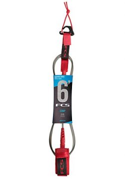 FCS Surfboard Leash 6′ Comp (Red, 6′ Comp)