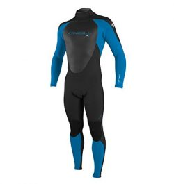 O'Neill Men's Epic 4/3mm Back Zip Full Wetsuit, Black/BrightBlue,Large
