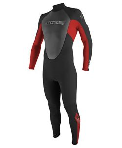 O'Neill Youth Reactor 3/2mm Back Zip Full Wetsuit, Black/Red/Graphite, 10