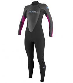 O'Neill Women's Reactor 3/2mm Back Zip Full Wetsuit, Black/Graphite/Berry,12