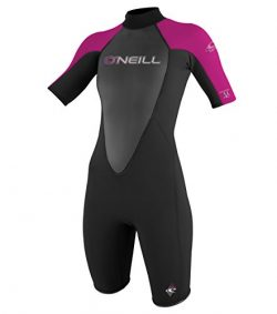 O'Neill Wetsuits Women's Reactor 2mm Short Sleeve Back Zip Spring Wetsuit, Black/Berry