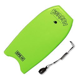 Play Platoon 41″ Green Bodyboard with Wrist Leash for Adults – Body Surfing Boards