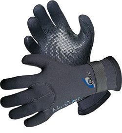 NeoSport 3MM & 5MM Premium Neoprene Five Finger Wetsuit Gloves with gator elastic wrist band ...