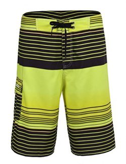 Unitop Men's Summer Holiday Stripped Quick Dry Board Shorts Yellow2 40