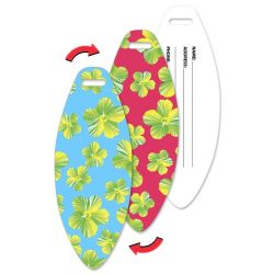 Luggage Tag Surfboard Shape, Hawaiian Flowers Lenticular Flip Effect