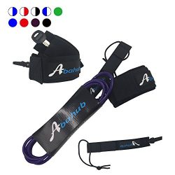 ABAHUB Premium Surfboard Leash Leg Rope SUP Legrope straight 10 feet purple 7 mm thick