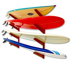 Timber Surfboard Wall Rack – Holds 4 Surfboards – Wood Home Storage Mount System