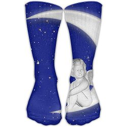 Angel Moon Mens Hip-hop 3D Print Sport BascketBall Thicken Long Socks Unisex