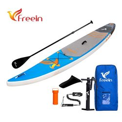 Freein Inflatable Stand Up Paddle Board, Inflatable SUP Board 12.6' Long Surfboard with Premium  ...
