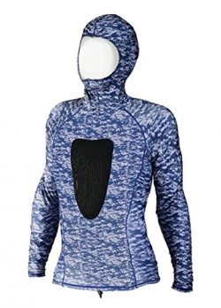IST Proline 2mm Camo Hooded Top With Tough-Tex Chest Pad (Blue Camo, Medium)