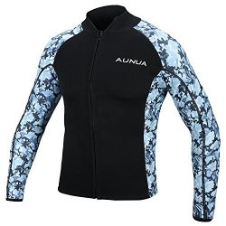 Aunua Men's 2mm Neoprene Wetsuit Camouflage Jacket Long Sleeve Surfing Tops(8021 Ocean Cam ...