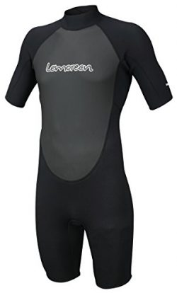Lemorecn Wetsuits Mens Neoprene 3mm Shorty Diving Suit(3036black-2XL)