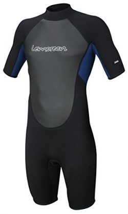 Lemorecn Wetsuits Mens Neoprene 3mm Shorty Diving Suit(3036blackblue-L)