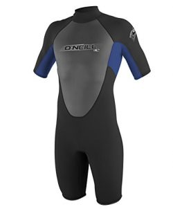O'Neill Youth Reactor 2mm Back Zip Spring Wetsuit, Black/Pacific/Black, 8