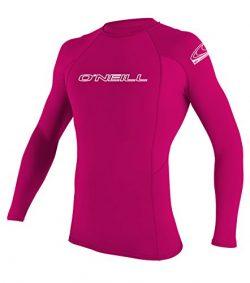 O'Neill Youth Basic Skins UPF 50+ Long Sleeve Rash Guard, Watermelon, 10