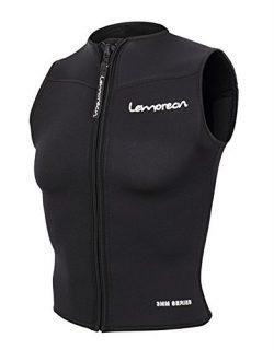 Lemorecn Men Wetsuits Top Premium Neoprene 3mm Zipper Diving Vest (2095,M)