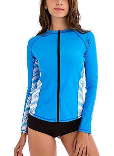 Taylover Womens Zipper Rash Guard Swim Shirt Long Sleeve Zipper Rash Guard