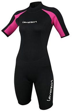 Lemorecn Wetsuits Womens Premium Neoprene Diving Suit 3mm Shorty Jumpsuit(3045-14)