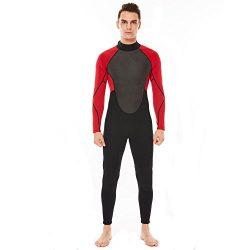 Realon Wetsuit Men Full 3mm Surfing Suit Diving Snorkeling Swimming Suit Jumpsuit (red/black, X- ...