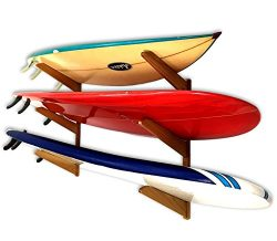 Timber Surfboard Wall Rack – Holds 3 Surfboards – Natural Wood Home & Garage Sur ...