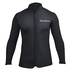 Lemorecn Adult's 3mm Wetsuits Jacket Long Sleeve Neoprene Wetsuits Top (LMJ021blackXL)